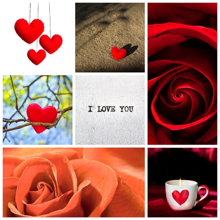 collage with roses, hearts and i love you word Stock Photo