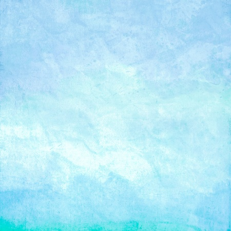 watercolor blue: Water color like sky ,sea or ocean on old paper texture background Stock Photo