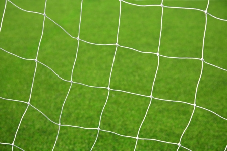 White soccer net with green grass background photo