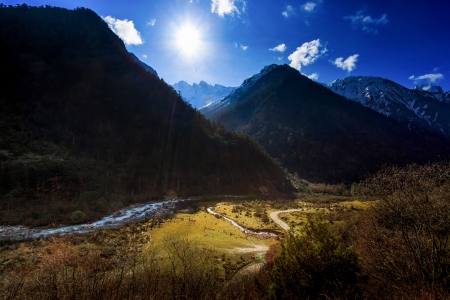 Mountain and River Landscape with Blue Sky