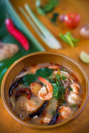 Thai Food, Tom Yum Kung with Ingredient Stock Photo