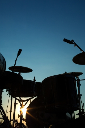 Drum in silhouette photo
