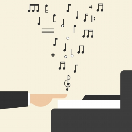 Hand Playing Piano with Notes Illustration