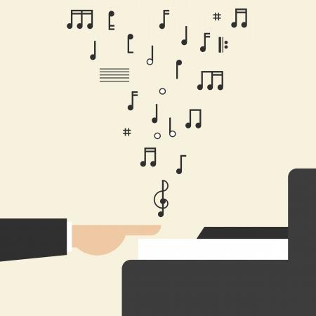 예행 연습: Hand Playing Piano with Notes 일러스트