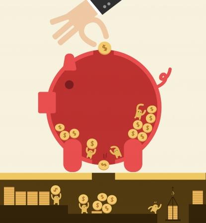 돼지 저금통에 동전을 넣어하지만 절약의 개념을 잃어 버리고