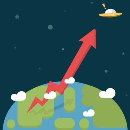 Business Growth Red Arrow go out of the World   Vector