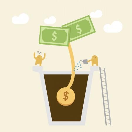 Concept d'investissement, Arrosage d'une petite usine de l'argent