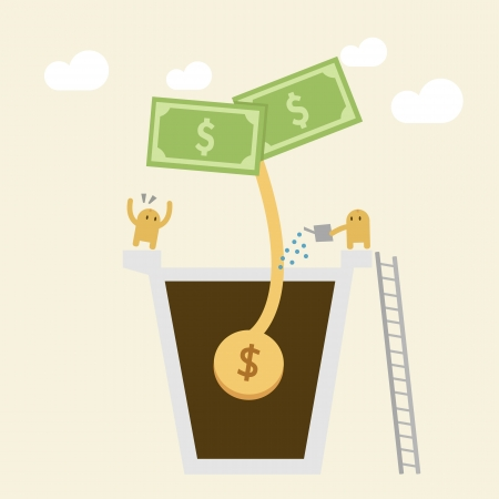 Investment Concept, Watering a small money plant  Illustration