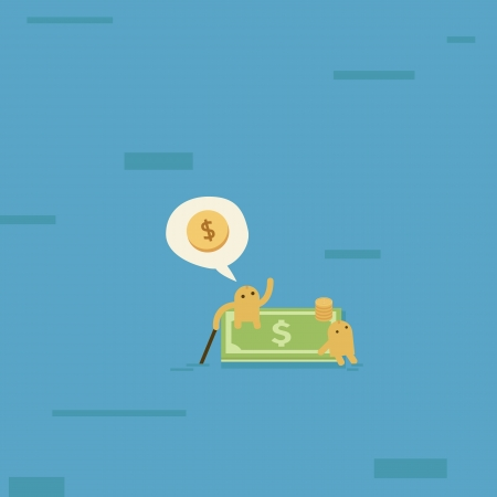 Find new business, customer, market ,job or career on a money boat  Vector