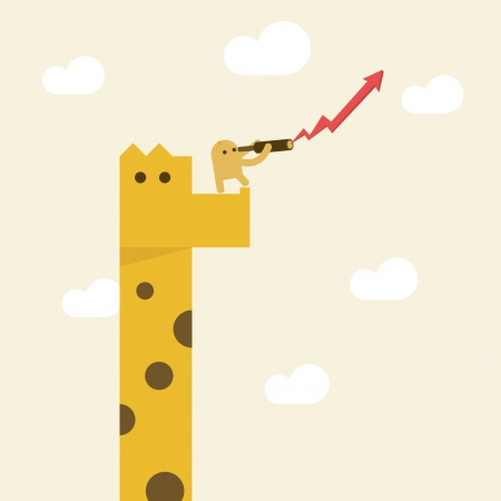 A man with Telescope on giraffe looking for direction growth vision or future business Illustration
