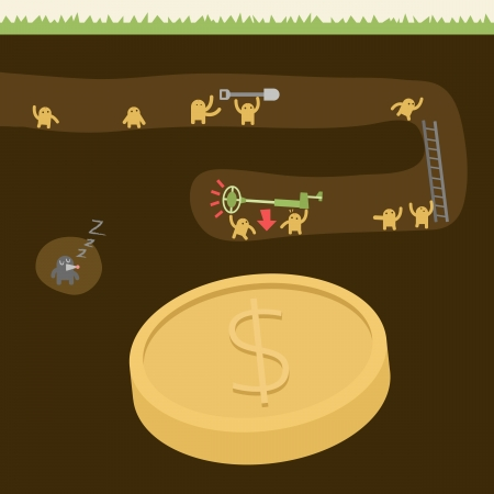 Teamwork Concept with Little Person Finding the Big Treasure   reward, money or success     Illustration
