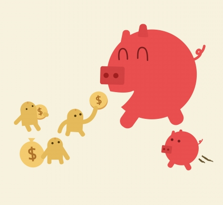 Feed pig with coins  Piggy bank have small son  Saving or Money growth concept