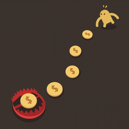 Money Trap, Business Risk Concept  Vector