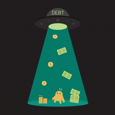 owe: UFO debt cut or steal your money budget, business concept  Illustration