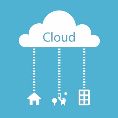 Cloud Computing Concept  Home, Office, Mobile, Tablets
