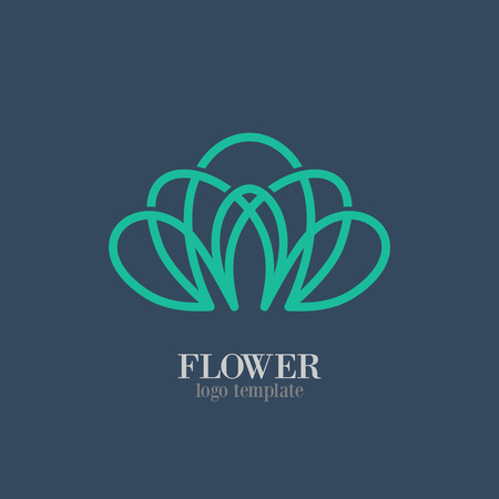 leaf line: Abstract Flower Logo template