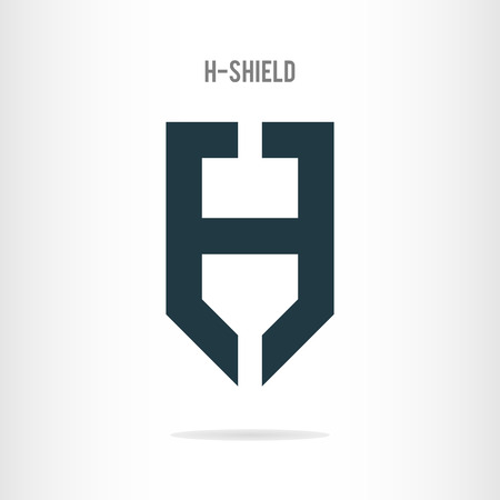 Letter H logo template. The letter H in the form of shield. Business logo template