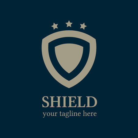 Shield and starts logo template. Shield icon. Business logo template. Abstract shield. Vector Ilustração