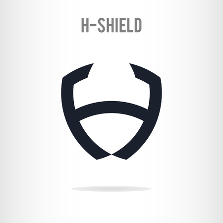 Abstract letter H logo template. The letter H in the form of shield. H icon Business logo template. Vector Ilustração