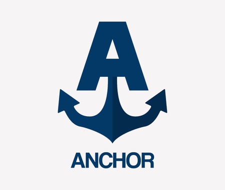 Abstract letter A and anchor logo template. Anchor icon. Anchor logo. Business logo template