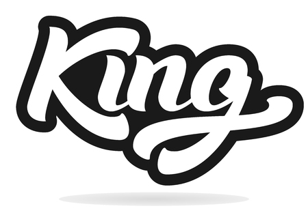 writting: King logo template. Hand lettering. T-shirt graphics