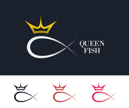 queen silhouette: Abstract fish logo template. Business logo template