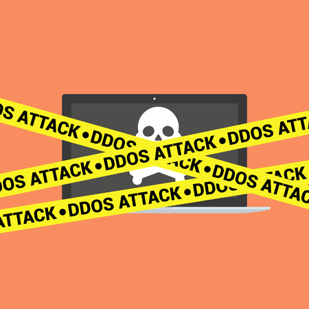 ddos: DDoS concept. Modern laptop with skull and crossbones and DDoS tape isolated on background