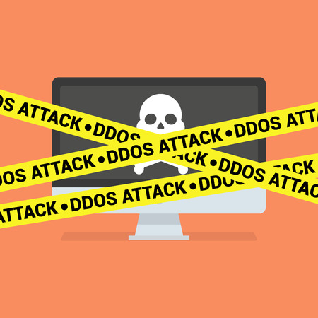 ddos: DDoS concept. Modern computer with skull and crossbones and DDoS tape isolated on background Illustration