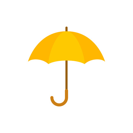 Umbrella closeup. Yellow umbrella icon. Yellow umbrella isolated on white background. Umbrella in cartoon style Ilustração