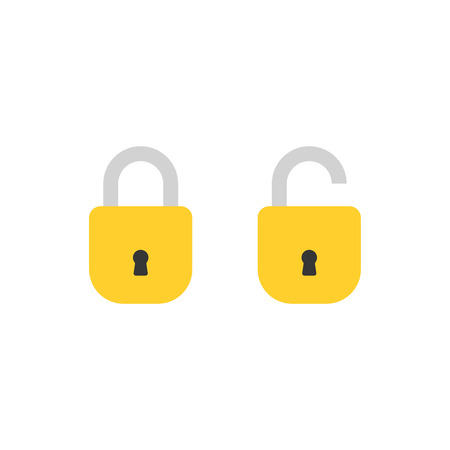 Open lock and close lock flat icons. Silhouette lock. Yellow locks isolated on background. Vector set Ilustração