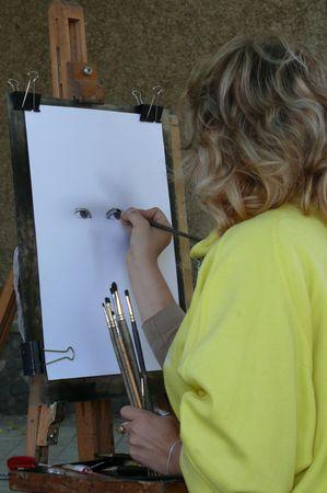 Girl artist for work