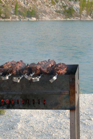 Shish kebab, frying on coal