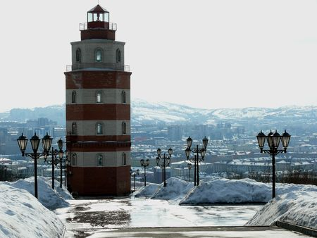 The lighthouse on top of the hill.