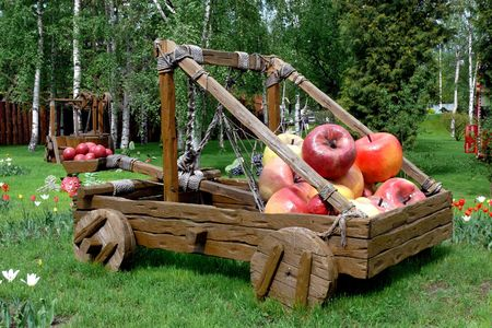 Catapult with apples.