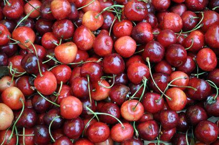 lot of ripe cherry  Stock Photo