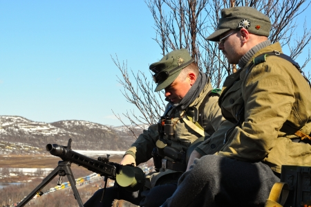 Soldiers of Hitler s army  Reconstruction of hostilities in the Valley of glory  death  in the Murmansk region on may 10, 2013  Army of Narvik in anticipation of attack of the Soviet troops