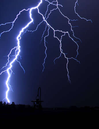 lightning strike: Lightning Strike at Night in the Country Stock Photo
