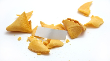 Two smashed up fortune cookies with a blank fortune photo