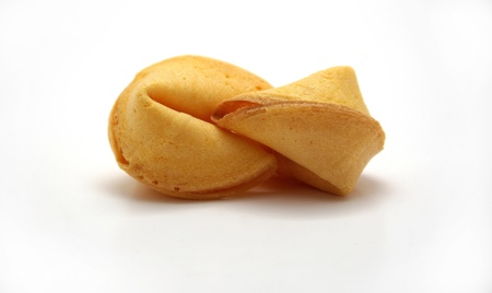kiss biscuits: Two fortune cookies locking lips