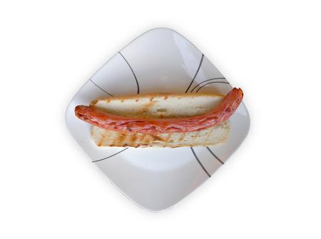 A plain grilled footlong gourmet hotdog