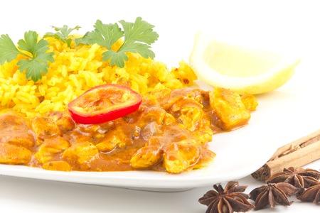 Spicy tikka masala curry chicken ready to be eaten photo