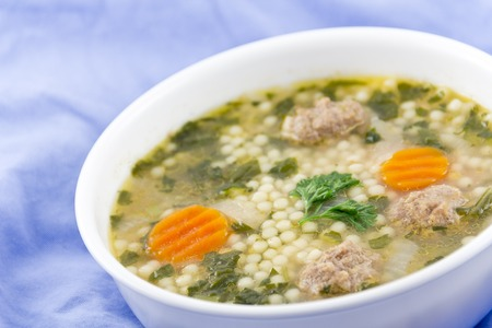 to pepe: Italian wedding soup with meatballs and pepe noodles