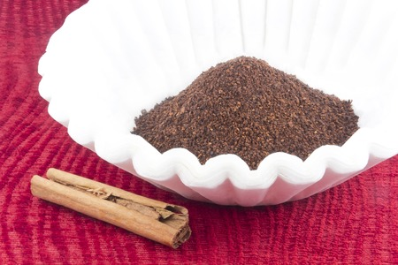 caffeine: Fresh coffee grounds ready to be brewed for morning jolt of caffeine Stock Photo