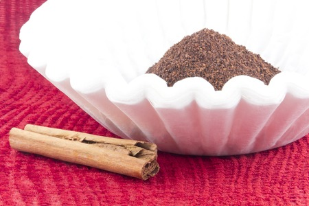 jolt: Fresh coffee grounds ready to be brewed for morning jolt of caffeine Stock Photo