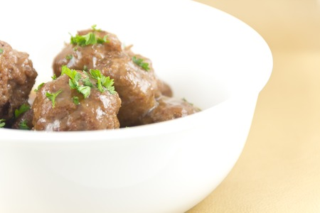 Delicious Swedish meatballs with a hearty brown sauce Stock fotó