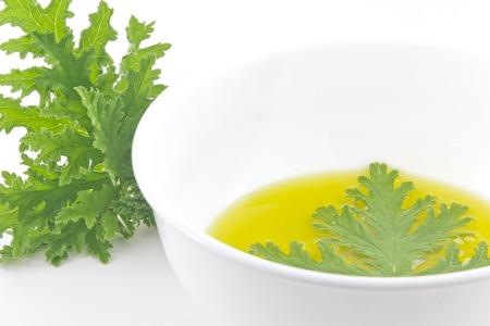 A citronella plant leaf resting in oil to make homemade mosquito repellant