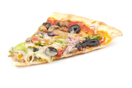 Vegetarian slice of pizza with black olives isolated on white