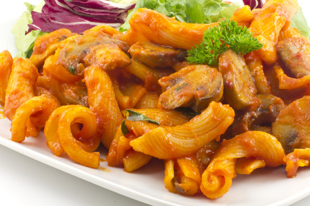 Gigli pasta bolognese with mushrooms and a healthy salad