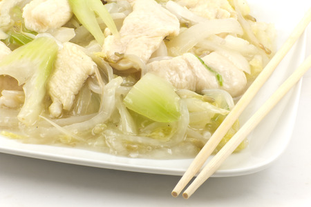 Chicken and Soybean Chow mein with creamy sauce photo