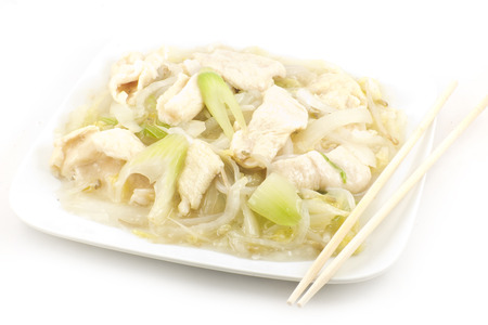 Chicken and Soybean Chow mein with creamy sauce